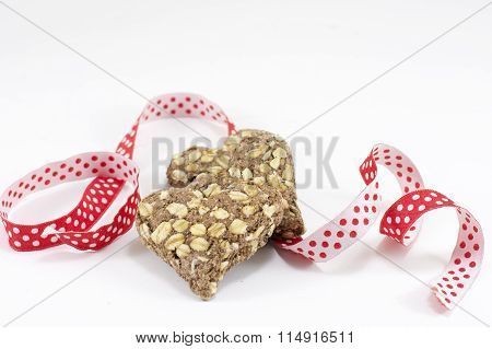Red Integral Cookie With A Decorative Tape