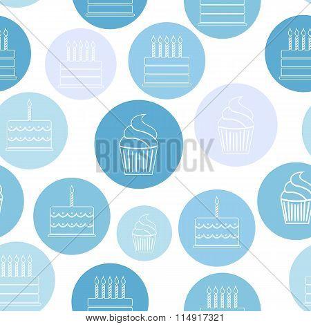 Birthday Cake Flat Seamless Pattern Background Vector Illustrati