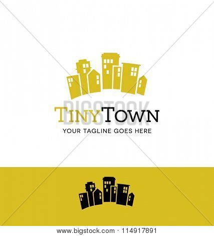 flat design logo of city buildings for business, organization or website