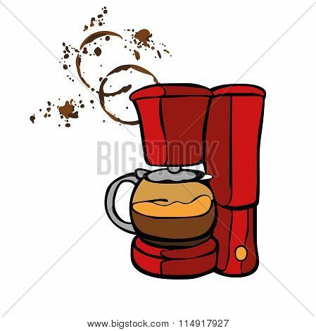Coffee machine. Coffee stains. Coffee splashes. Isolated object on white background.