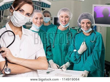 Surgery team after operation