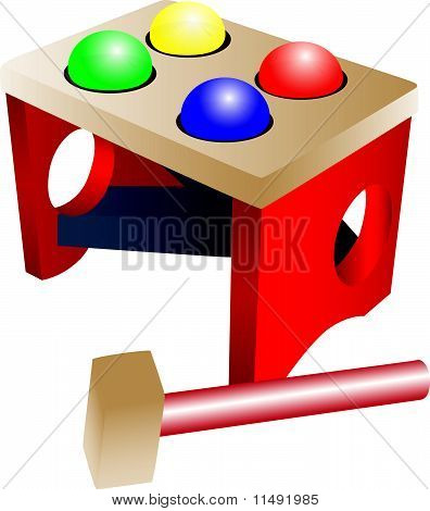 Colorful Balls And A Hammer.