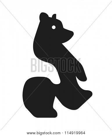 Stylized bear graphic image with the negative space effect. Vector illustration.