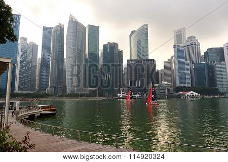 SINGAPORE - NOVEMBER 08, 2015: view of Singapore downtown. Singapore is a leading global city in Southeast Asia and the world's only island city-state.