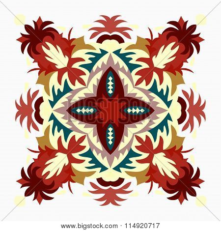 Colored Background. Beautiful Mandala. Vector Illustration.