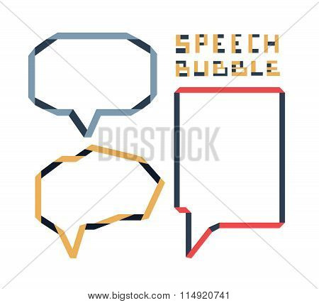 Origami Speech Bubble Set, Vector Illustration