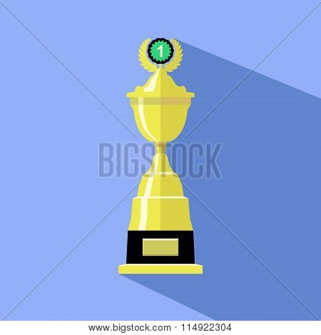 Trophy Cup In Flat Style. Icon Gold Goblet. Concept Of Victory,