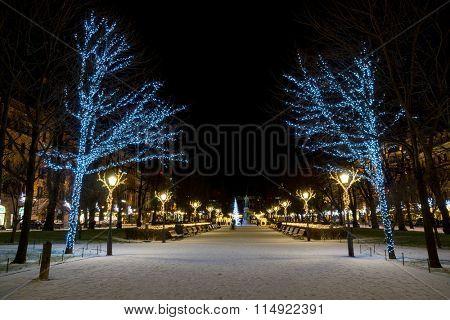 HELSINKI, FINLAND - DECEMBER 26, 2015: Christmas decorations in city center on December 26, 2015 in Helsinki, Finland