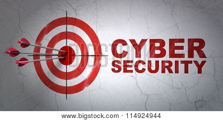 Privacy concept: target and Cyber Security on wall background