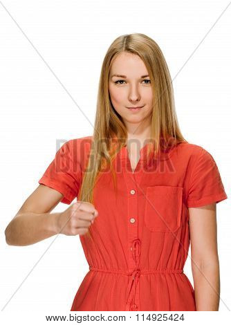 young woman clenched fist arm