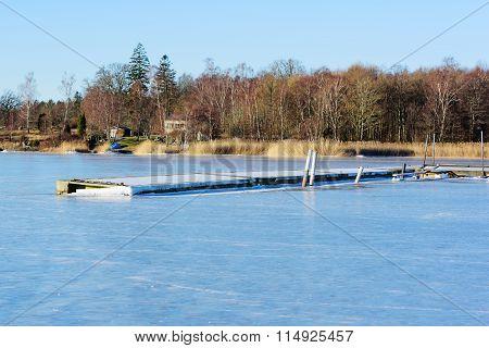 Floating Bridge In Winter