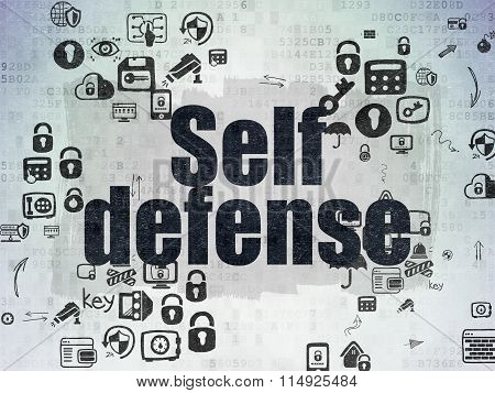 Protection concept: Self Defense on Digital Paper background