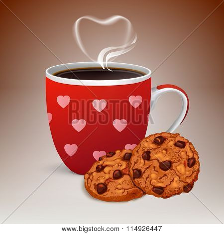 Cup of Coffee With Cookies and Love