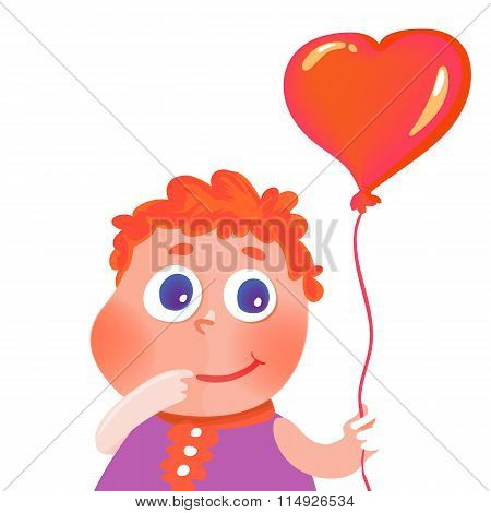 Isolated hand drawn cute girl with heart balloon