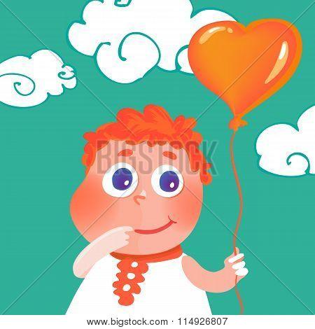 Vector hand drawn cute girl with heart balloon