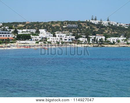 17.06.2015 Crete, Greece, View From Sea To Small Greek City Hersonissos