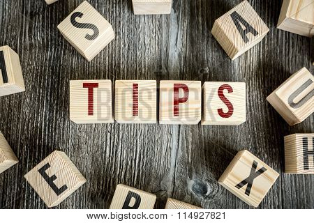 Wooden Blocks with the text: Tips