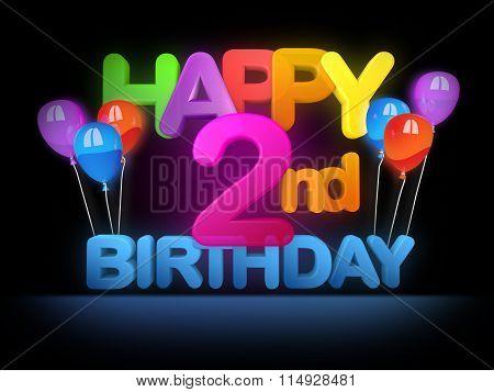 Happy 2Nd Birthday Title Dark
