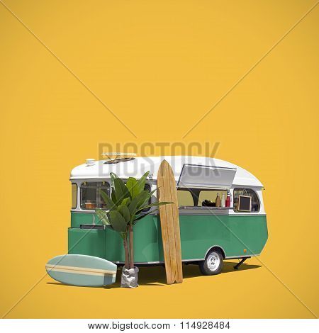 Food Truck Caravan Isolated