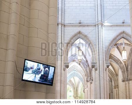 Modern cathedral with lcd tv