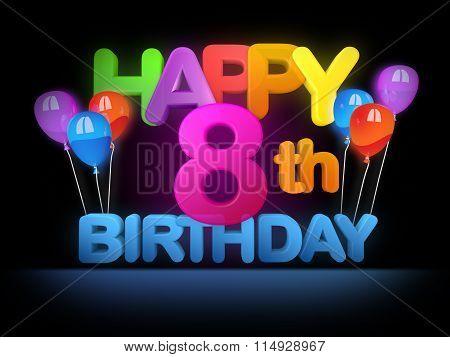 Happy 8Th Birthday Title Dark