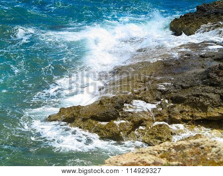 Clear Azure Sea Water Landskape And Rocks Near Crete Coast, Greece