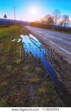 Beautiful Summer Landscape With Road In Sunset