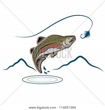 Jumping Salmon On Landscape Background