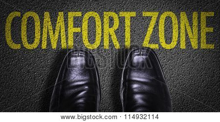 Top View of Business Shoes on the floor with the text: Comfort Zone