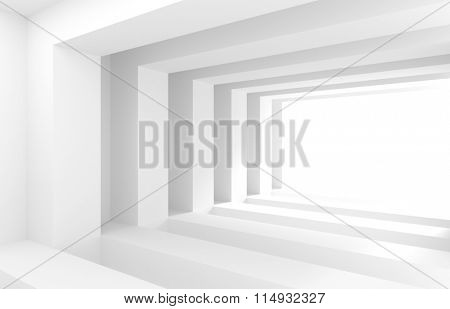 3d White Tunnel. Abstract Architecture Background