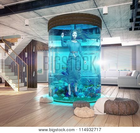 One woman in the  aquarium. The modern loft interior with aquarium. Photo and cg elements combination  concept