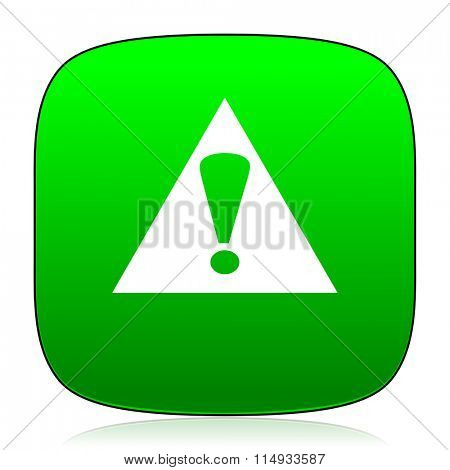 exclamation sign green icon