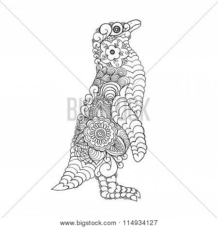 Zentangle stylized cute penguin.