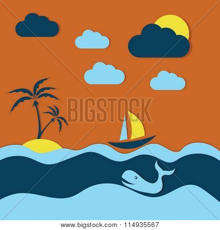 Summer Illustration With Whale And Boat