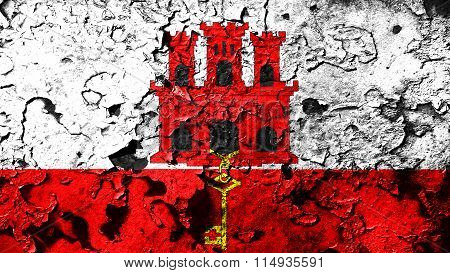 Flag of Gibraltar painted on cracked paint