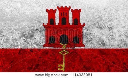 Flag of Gibraltar painted on frost texture