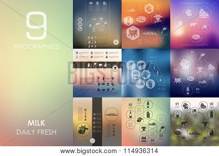 milk infographic with unfocused background