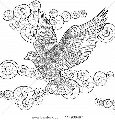 Flying dove in zentangle style.