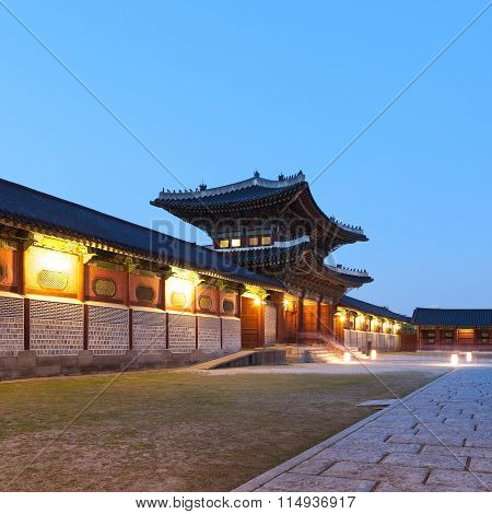 Traditional Architecture Of East-asia: Kyeongbokkung Palace In Seoul, South Korea