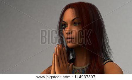 egypt style model posing in studio