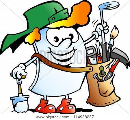 Vector Cartoon Illustration Of A Happy Golfer Paper Mascot