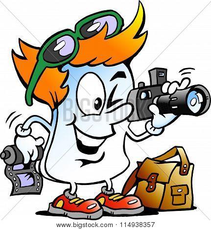 Vector Cartoon Illustration Of A Happy Editor Paper Photographer Mascot