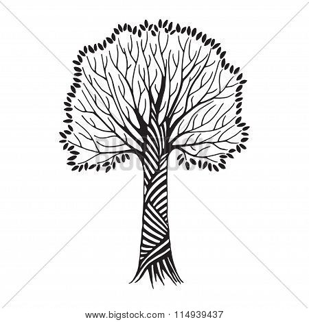 Stylized Hand Draw Vintage Tree With Black Leaves On White Background. Abstract Vector Illustration.