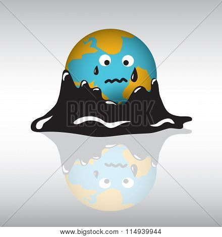 Planet earth sadness crisis oil.