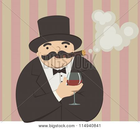 rich man with a glass of wine