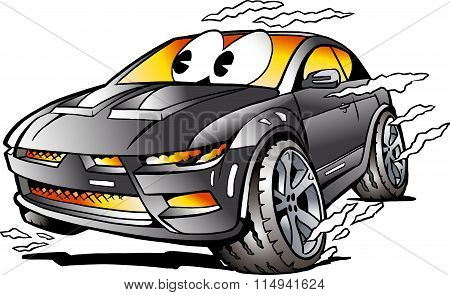 Vector Cartoon Illustration Of A Grey Sports Car Mascot Racing In Full Speed