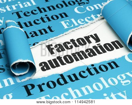 Industry concept: black text Factory Automation under the piece of  torn paper