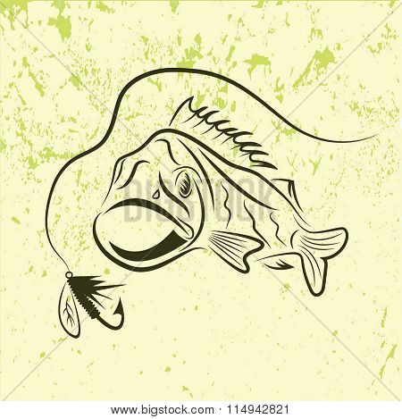 Big Mouth Bass On Grunge Background