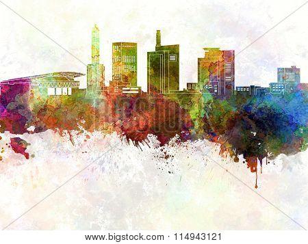 Saitama Skyline In Watercolor Background
