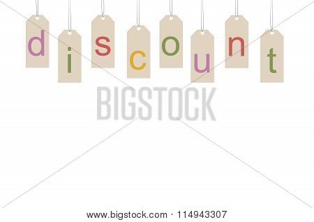 Black friday. Discount word on labels isolated over white background